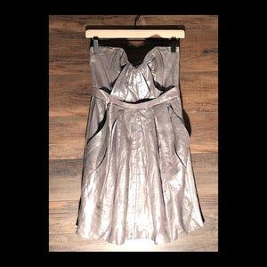 Foley + Corinna Silver Metallic 100% Linen Dress